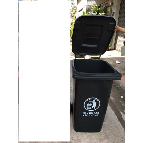 Thùng rác nhựa đen 120L