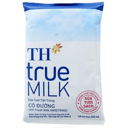 Combo 10 bịch sữa TH Truemilk có đường 220ml