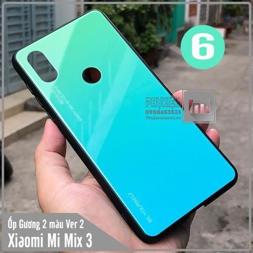 Ốp lưng XM Mi Mix 3 gương cứng 2 màu Ver 2 , viền TPU dẻo đen - số 6