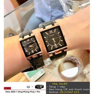 [Tặng Vòng Tặng Pin] Đồng hồ cặp mặt vuông Halei - giá 1 cặp - 7554 thumbnail