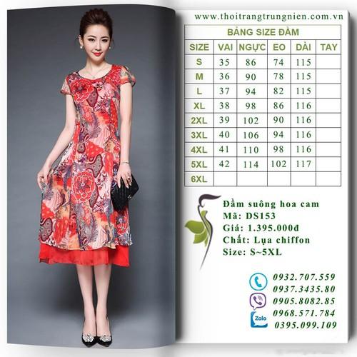 DS153 - Đầm suông hoa cam - Size: S~5XL
