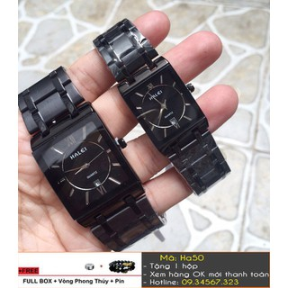 [Tặng Vòng Tặng Pin] Đồng hồ đôi Halei mặt vuông có lịch ngày - giá 1 đôi - 3379 thumbnail
