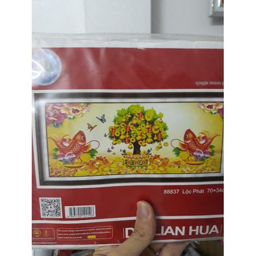 Tranh thêu chữ thập Phát Tài Phát Lộc 70x34cm