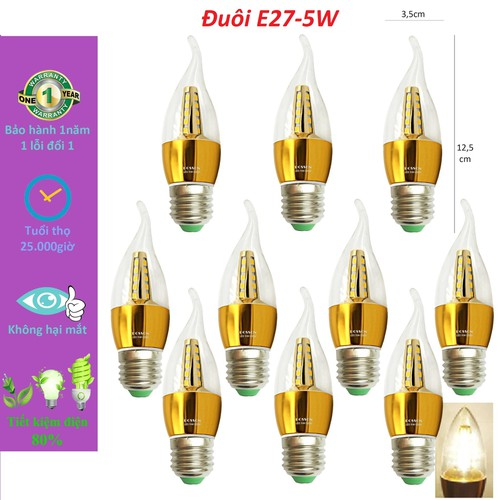 Bộ 10 Bóng đèn nến LED 5W E27- Ánh sáng vàng