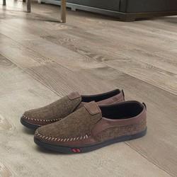 Giày lười nam vải nâu đế đen đẹp TS214 Tronshop | giày nam | giày lười | giày mọi