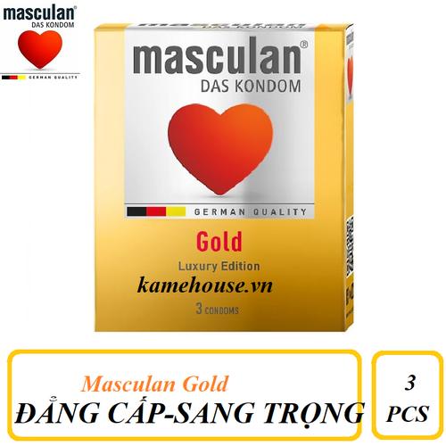 Bao Cao Su cao cấp Masculan Das Kondom Gold hộp 3 cái