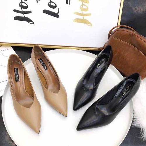 Giày thời trang giày cao gót da lì
