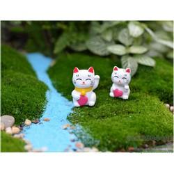 Đôi mèo trắng may mằn - Trang trí tiểu cảnh sân vườn, trang trí cây cảnh