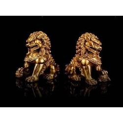 Tượng linh vật phong thủy đôi con nghê bằng đồng thau cỡ siêu đại
