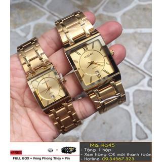 [Tặng Vòng Tặng Pin] Đồng hồ đôi Halei mặt vuông - giá 1 đôi - 3368 thumbnail