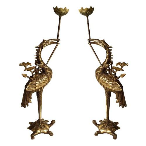 Đôi hạc thờ hạc cao 60 cm bằng đồng thau 2 công nghệ cao cấp