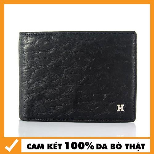 Bóp Da - Ví Da Bò Ngang Cho Nam Chữ H Màu Đen