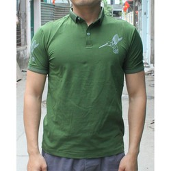 Áo thun ngắn tay họa tiết nam màu rêu