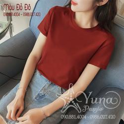 [Mua 2 Áo Tặng 1 Khẩu Trang Su Dày Kháng Khuẩn] Áo Cotton Thun Thái Trơn Cổ Tròn Cao Cấp Có 9 Màu 2 Size - Yuna Boutique