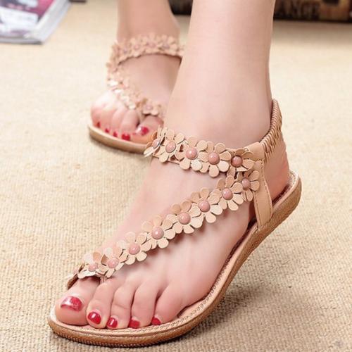 Giày sandal nữ đế bệt hoa nhí phong cách Hàn Quốc HB60 _Hàng Nhập