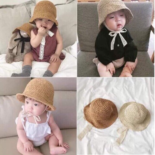 Mũ ajuma dây buộc cho bé, mũ cói cho bé
