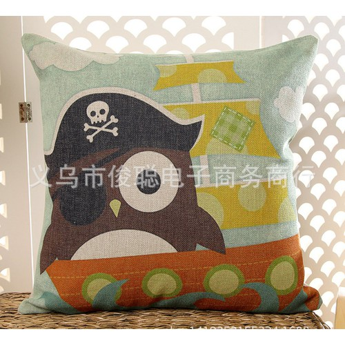 VG193 45x45cm Vỏ gối tựa sofa vải đẹp không ruột họa tiết cú mèo vải bố dày cao cấp