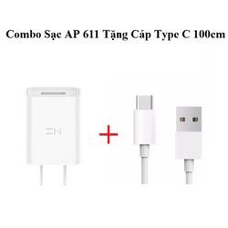 Combo Củ Sạc nhanh Xiaomi ZMi 5V 2A chuẩn 3C - AP611 Trắng Tặng cáp Type C 100cm