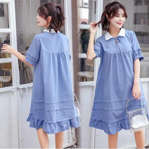 Đầm Bầu :Váy Cổ Sơ Mi Thắt Nơ Kiểu Dáng Hàn Quốc- Xanh Dương