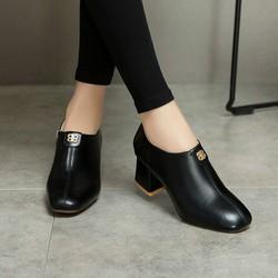 Giày boots da gót vuông cao cấp