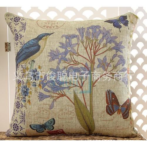 VG203 45x45cm Vỏ gối tựa sofa vải đẹp không ruột họa tiết hoa tím vải bố dày cao cấp