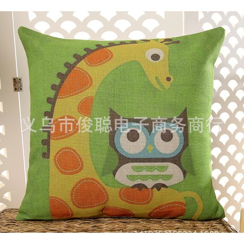 VG194 45x45cm Vỏ gối tựa sofa vải đẹp không ruột họa tiết cú mèo vải bố dày cao cấp