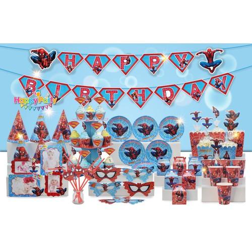 Set trang trí sinh nhật bé trai Bộ phụ kiện chủ đề nhện spiderman mega - Happy birthday