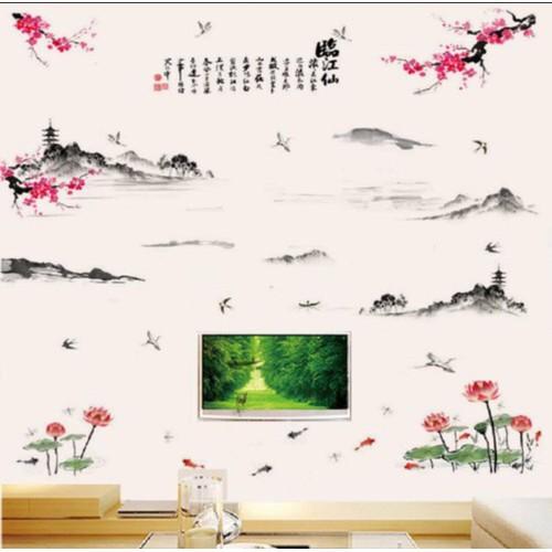 combo 2 bức decal dán tường hoa sen kết hợp đào phong thủy