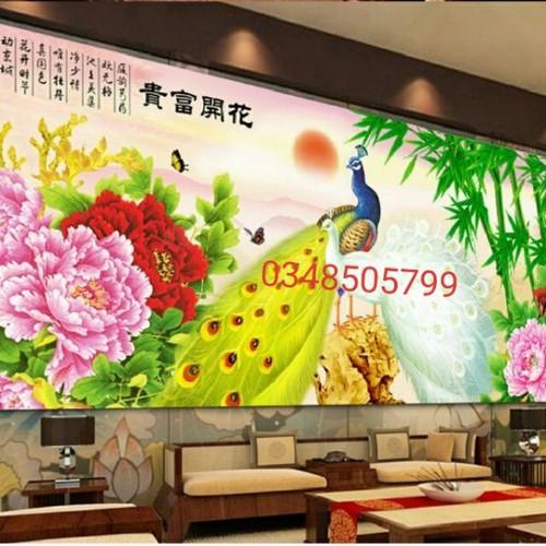 Tranh thêu chữ thập CHIM CÔNG Phu Thê 148x66cm