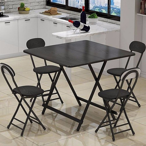 Bộ bàn ăn gấp gọn _ Bàn vuông 80X80cm  kèm 4 ghế