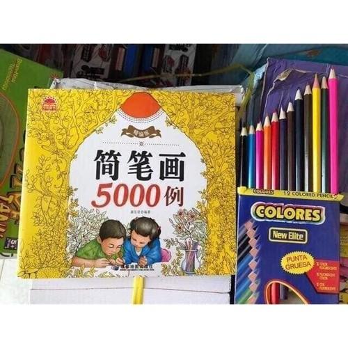 Sách 5000 hình + tặng kèm bút tô 12màu