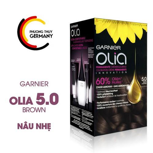 Thuốc nhuộm tóc của Đức - Garnier Olia 5.0 Màu nâu nhẹ
