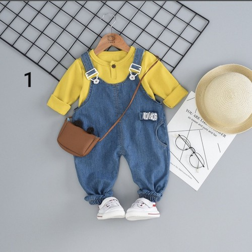 Set yếm bò áo thun + quần jean cá tính