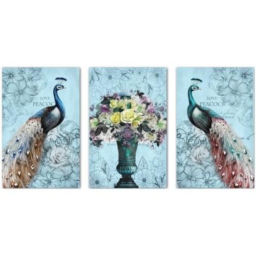 Tranh thêu chữ thập Chim Công 3 bức 150x68cm