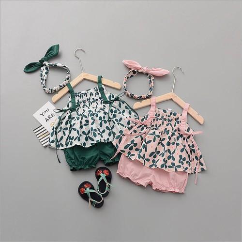 BT01331 - Set áo và quần ngắn bé gái kèm nơ cài đầu - 210k
