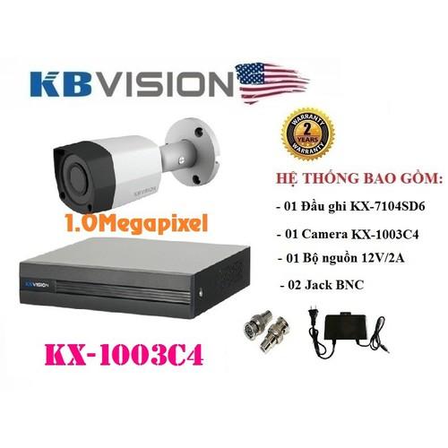 TRỌN BỘ 1 CAMERA THÂN KBVISION 1.0MP KX-1003C4