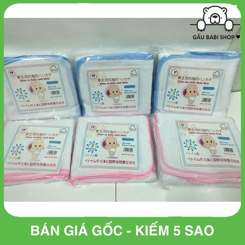 Set 10 chiếc khăn xô Baby xuất Nhật LOẠI 4 LỚP MÀU HỒNG