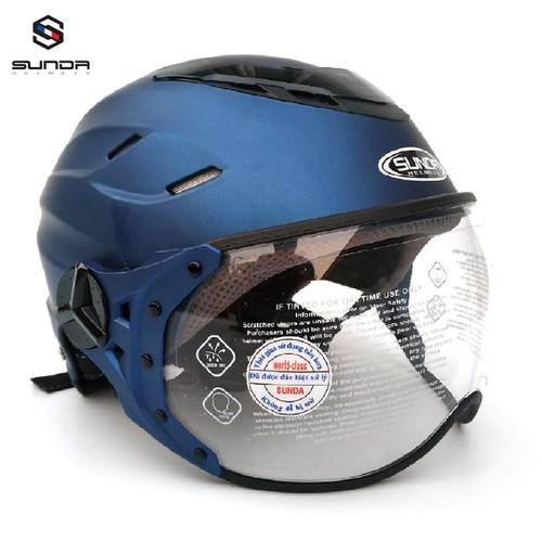 Mũ bảo hiểm - Nón bảo hiểm - Mũ Bảo Hiểm Nửa Đầu Có Kính SUNDA 125B Dành Cho Người Có Size Đầu Trung Bình Lớn - Màu xanh tím than nhám