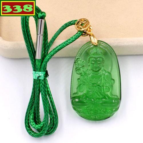 Vòng cổ Đại Thế Chí Bồ Tát pha lê xanh lá 3.6 cm DXFBXL4 - Phật bản mệnh tuổi Ngọ