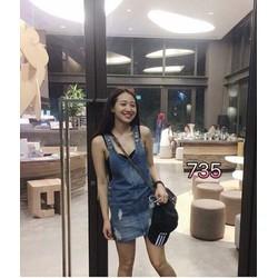 Chân váy yếm jean