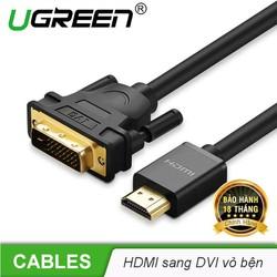 Cáp chuyển đổi tín hiệu từ cổng DVI 24+1 sang HDMI và ngược lại từ HDMI sang DVI 24+1 vỏ bện nylon, kết nối các thiết bị như máy tính, laptop, PS3, TV Box, tivi... dài 5m UGREEN  HD133 50350 - Hãng phân phối chính thức