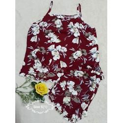 Đồ bộ tole đùi áo dây họa tiết hoa lá size 3 _ dưới 60kg