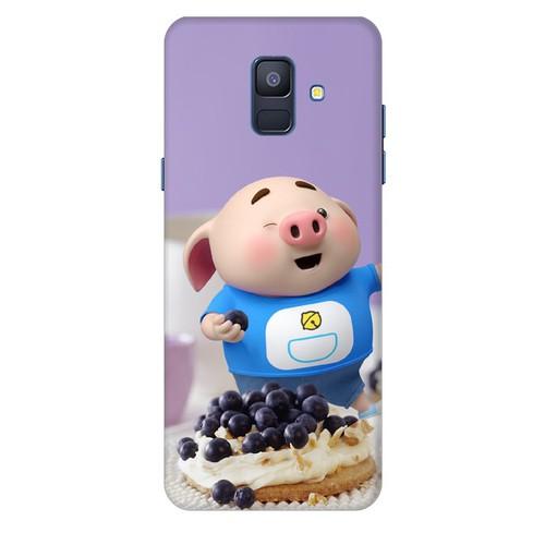 Ốp lưng nhựa dẻo dành cho Samsung Galaxy A6 2018 in hình Heo Con Ăn Trái Cây