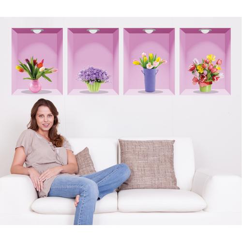 Decal trang trí 4 khung tranh Hoa Tím hồng