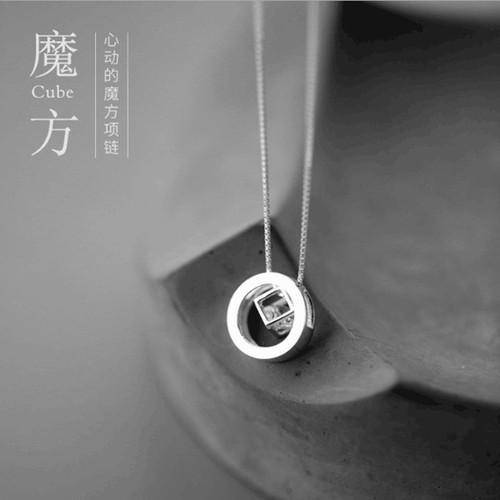 Dây chuyền bạc  Dây chuyền hình hình khối rubik  Dây chuyền Hàn Quốc  Dây chuyền nữ