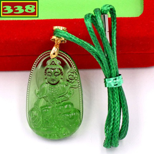 Vòng cổ Phổ hiền bồ tát pha lê xanh lá 3 cm DXFBKXL2 - Phật bản mệnh tuổi Thìn, Tỵ - Phù hợp cho nữ