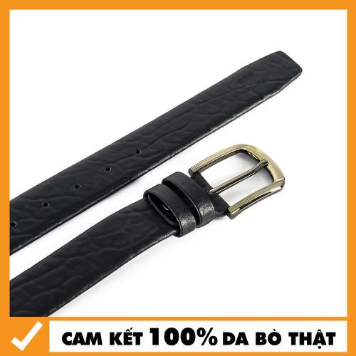 Dây Nịt - Thắt Lưng Da Bò Đầu Kim Cho Nam 3p5 Màu Đen