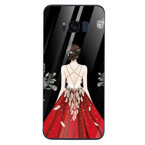 Ốp kính cường lực dành cho điện thoại Samsung S8 - cô gái váy hoa - cgvh003 - hàng chất lượng cao