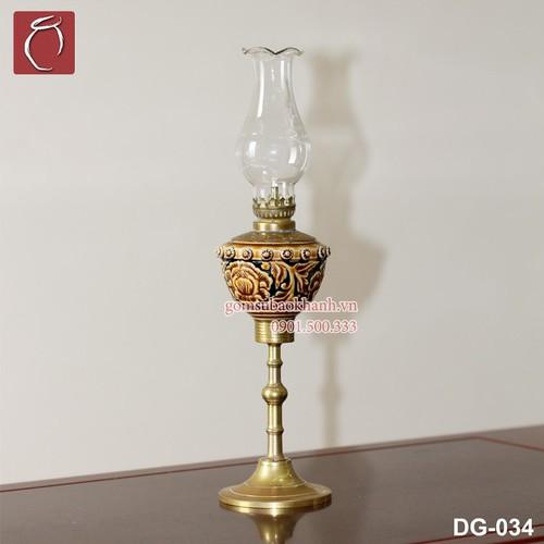 Đèn thờ dầu men cổ khắc nổi hoa Phù Dung - Gốm Sứ Bảo Khánh Bát Tràng - đèn thờ cổ cao cấp