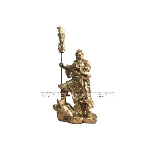 Tượng Đá Phong Thủy Quan Công Cầm Đao - Màu Nhũ Vàng